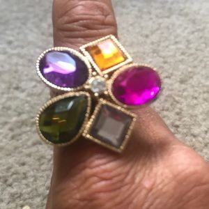 Multi colored gold women's stretch ring